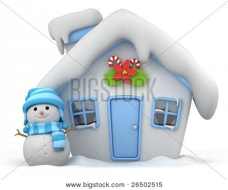 3D Illustration of a House with a Christmas Theme