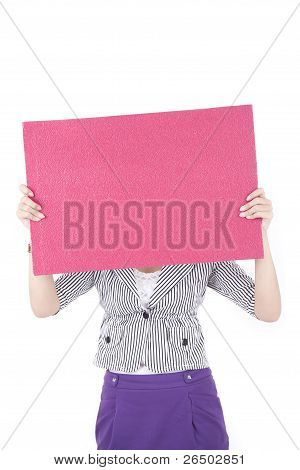 Asian Woman Holding An Empty Board