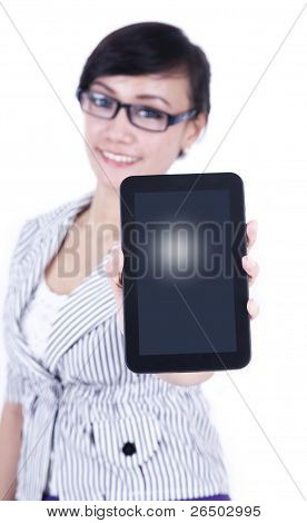 Asian Business Woman With A Digital Tablet