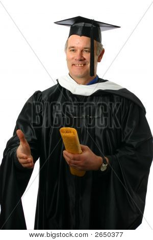 Professor Or Graduate With Diploma Offering Hand