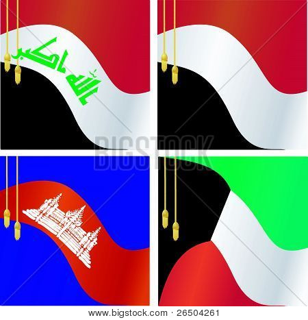 Collection Of Vector Illustrations Of Flags Of Iraq, Yemen, Cambodia, Kuwait