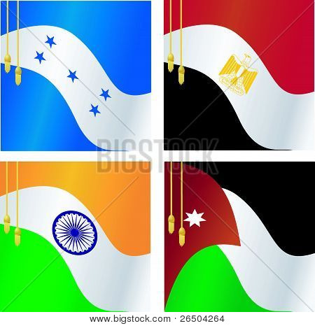 Collection Of Vector Illustrations Of Flags Of India, Egypt, Jordan, Honduras