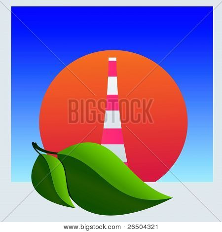 Nuclear Power Plant And Leaf. Vector