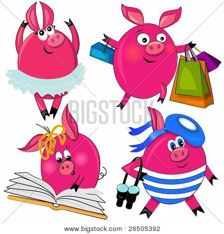 pig set vector illustration.cute animal isolated characters