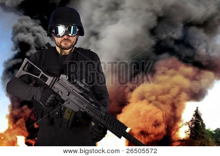 Defense against terrorism, a soldier in an industry