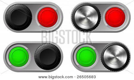 Kippschalter mit grünen und roten Lichtern