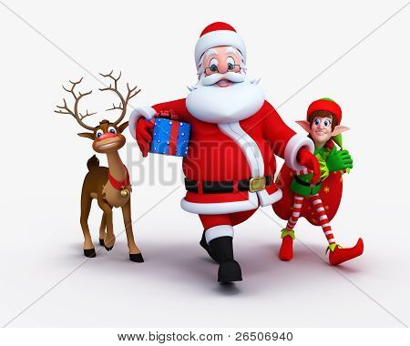 Santa is walking with naughty reindeer and Elves.