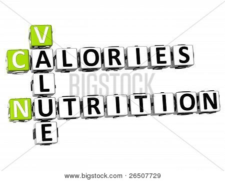 3D Value Calories Nutrition Crossword
