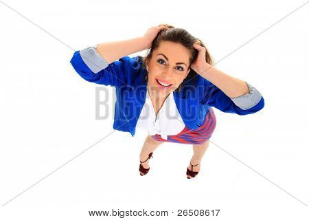 Top view of a Positive business woman smiling over white background