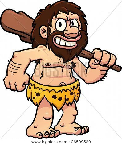 Cartoon caveman holding a club. Vector illustration with simple gradients. All in a single layer.