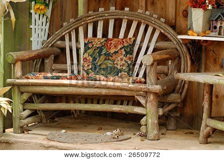 old bench made of tree branches