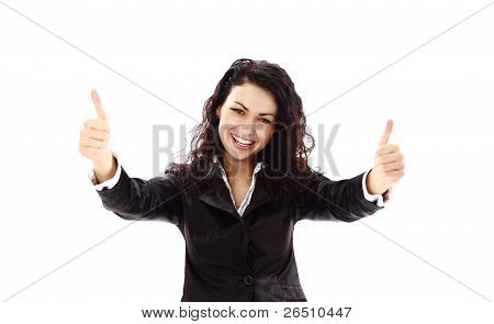 Happy successful business woman making ok sign. Isolated over white background
