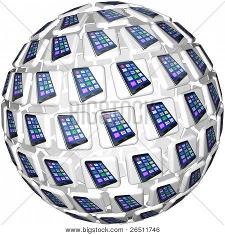 A sphere of application app tiles showing smart cell phones connected and linked in a communication network