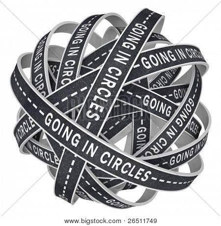 The words Going in Circles on black asphalt paved roads in endless circular patterns in a ball of confusion