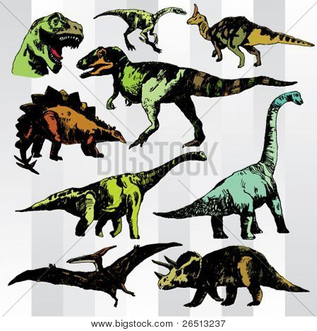 Hand Drawn Various Dinosaurs