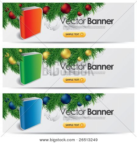 vector website headers, Christmas software promotion banners