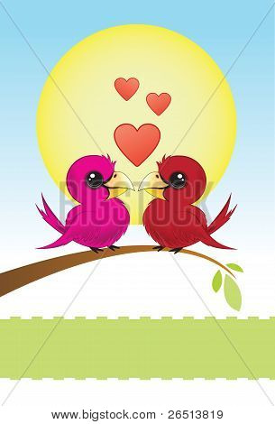 Two Love Birds With Hearts