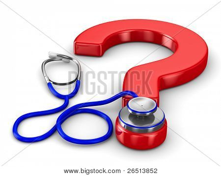 Stethoscope and question on white background. Isolated 3D image