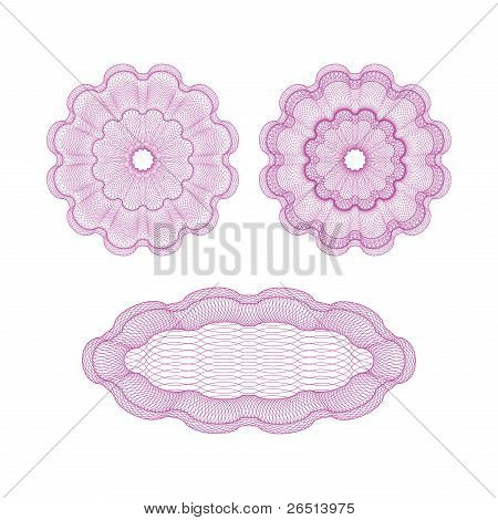 Set of pink vector guilloche rosettes