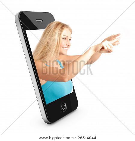 Smart Phone Concept With Beautiful Woman