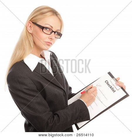 Business Woman With A Checklist