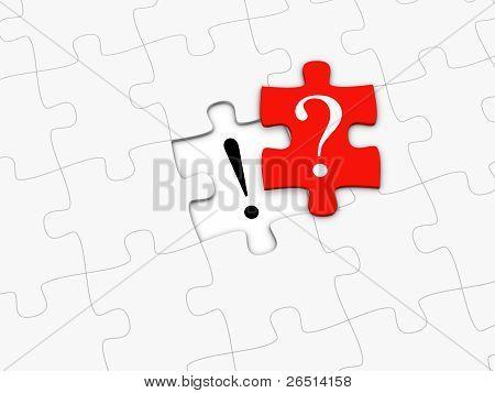Rote Puzzleteil mit Fragezeichen