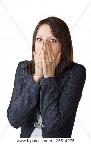 Blendet Business-Frau ihr Gesicht in ihr?Hände