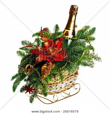 Christmas gift basket on white background