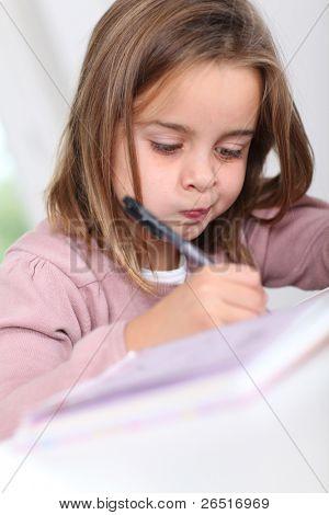 Portrait of grade-schooler doing homework