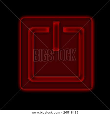 Power button against black background