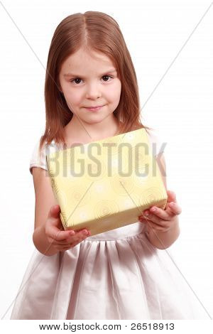 Sweet little girl with present box