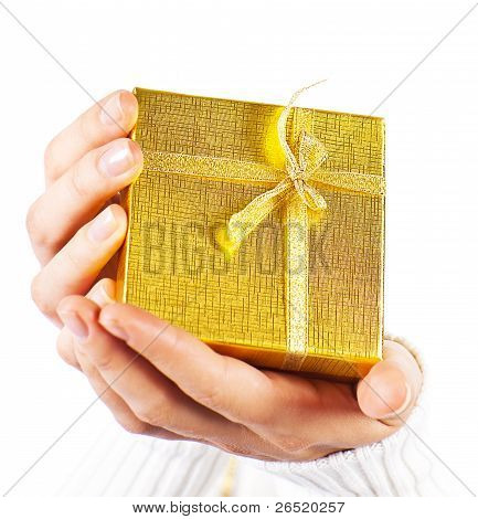 Golden Gift In Hands