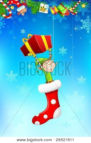 illustration of elf holding gift box hanging in christmas stocking