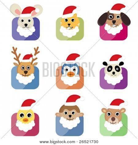 cute animal head with santa hat