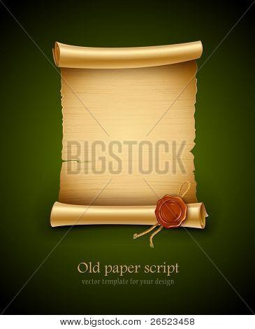 antiguo fondo de script de papel en blanco con ilustración del vector de sello. EPS10. Contiene objeto transparente