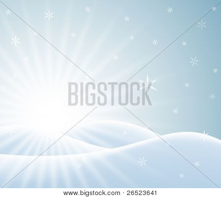 Winter card with snowy landscape and white snowflakes