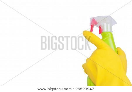 Hand In Yellow Glove With Green Sprayer Isolated