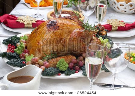 Roasted Turkey And Christmas Tree
