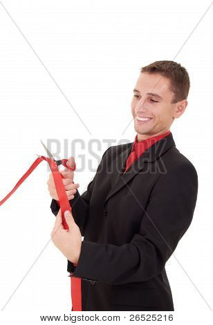 Business Man Cutting A Red Ribbon