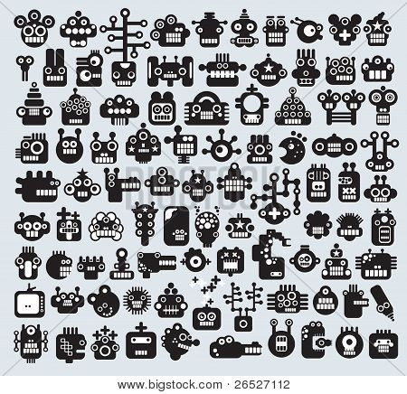 Big set of monsters and robots faces.