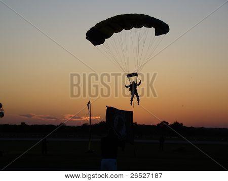 Parachute Drop at Sunset