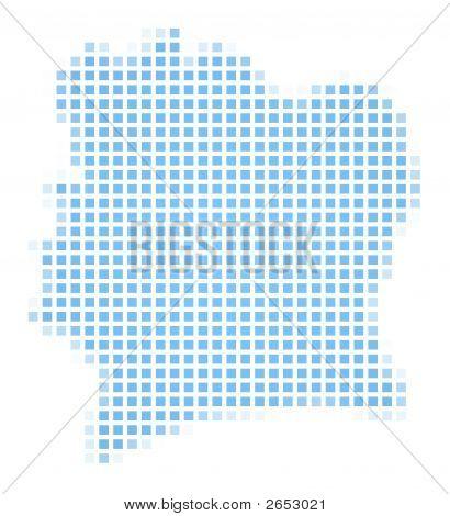 Cote D'Ivoire Map Square Mosaic