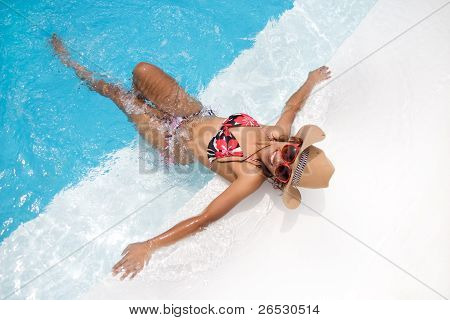 woman in the pool