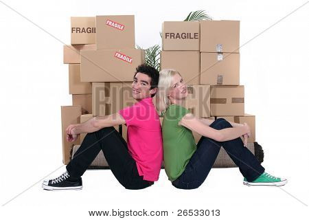 young people and cardboard boxes
