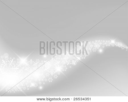 Vector Light silver abstract Christmas background with white snowflakes