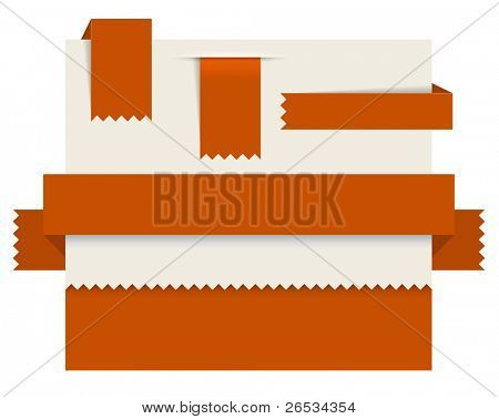 Red paper tags - Vector ribbons, stripes and bookmarks