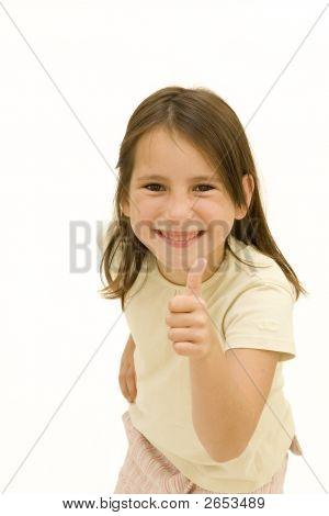 Happy Young Girl Giving Ok