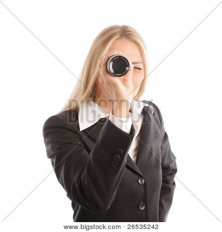 Blond Business Woman With Spyglass