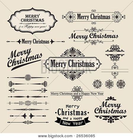 Christmas vintage design elements and letterning.