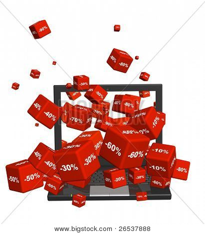 Cajas de ordenador portátil y rojo con las mercancías con un descuento. Objetos aislados sobre blanco